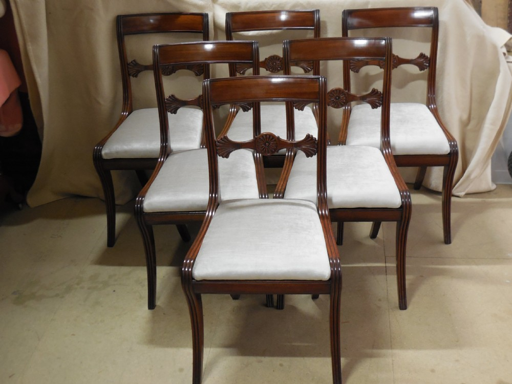 exceptional set of 6 regency mahogany dining chairs