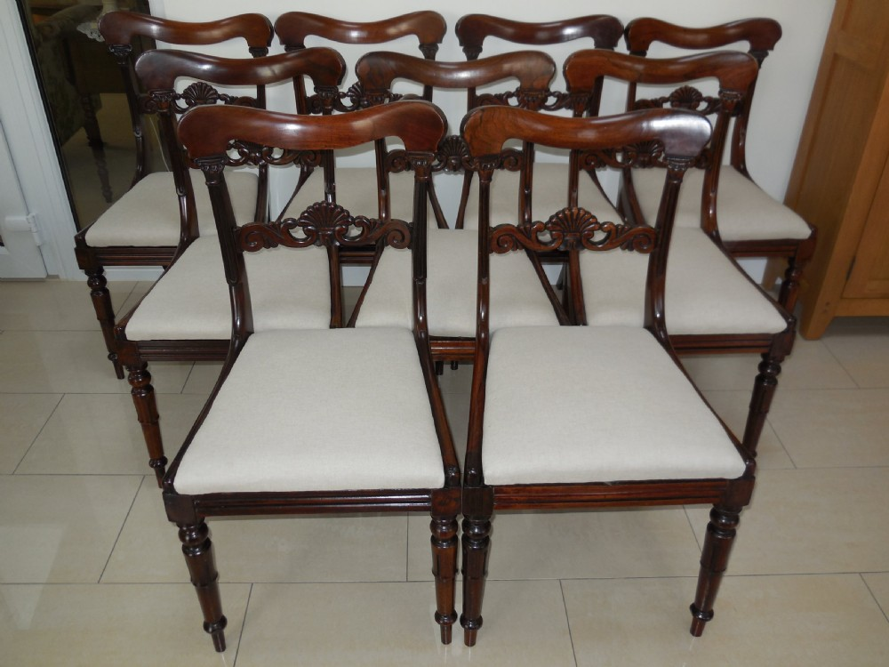 set of 9 victorian rosewood dining chairs