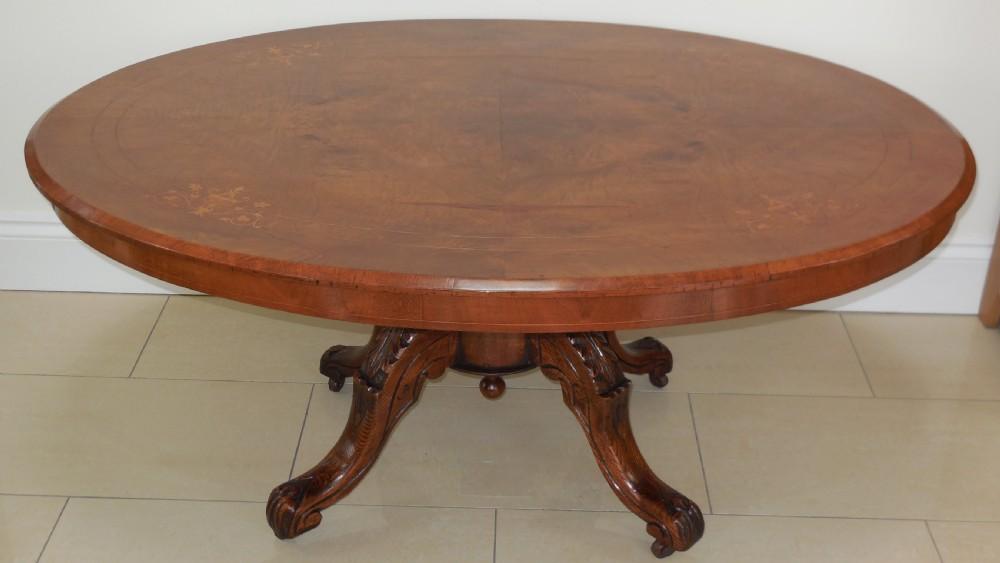 victorian figured walnut coffee table