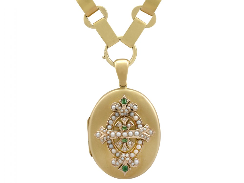015 ct emerald and seed pearl 15 ct yellow gold locket antique victorian