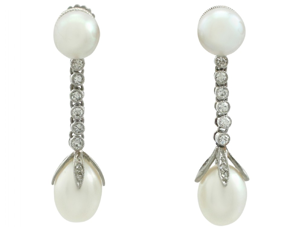 antique natural pearl and 036 ct diamond platinum drop earrings