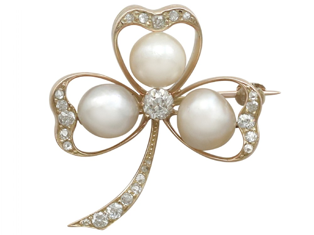 pearl and 105 ct diamond 14 ct yellow gold 'clover' brooch antique victorian