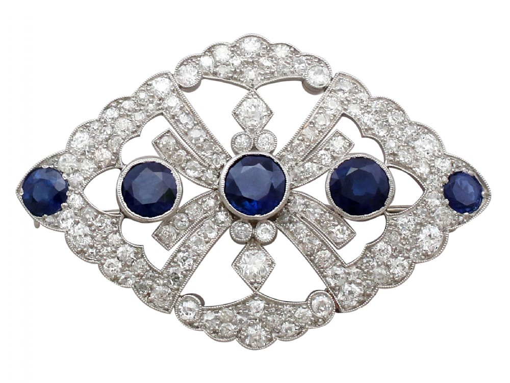 484 ct sapphire and 4 ct diamond 9 ct white gold brooch antique victorian
