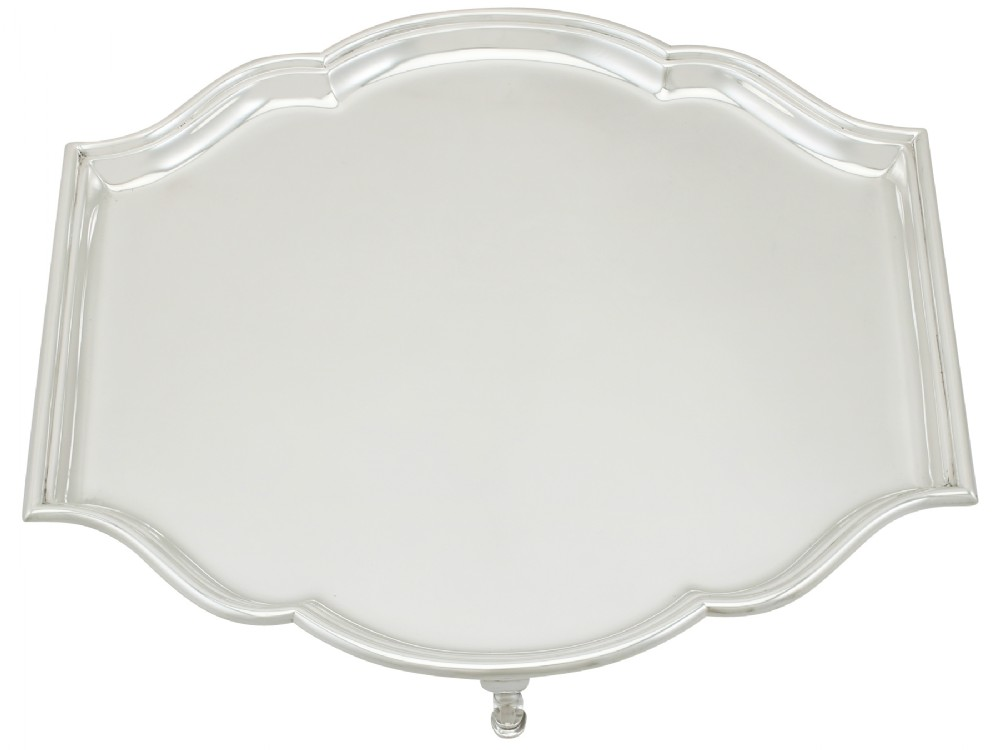 sterling silver salver art deco style antique george v 1927