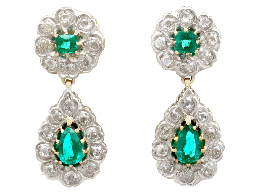 318ct emerald and 323ct diamond 12ct yellow gold drop earrings antique victorian