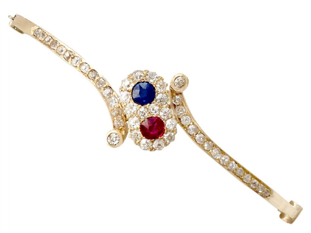 045 ct ruby and sapphire 150 ct diamond 14 ct yellow gold bangle antique circa 1890