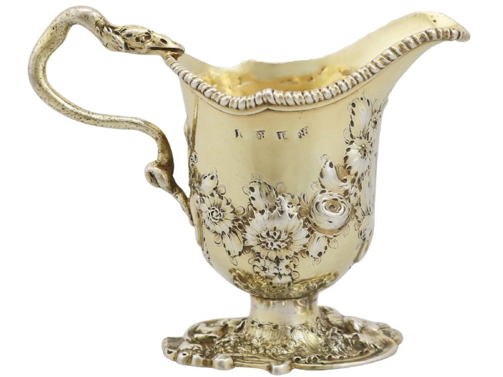 sterling silver gilt cream jug by robert innes antique georgian