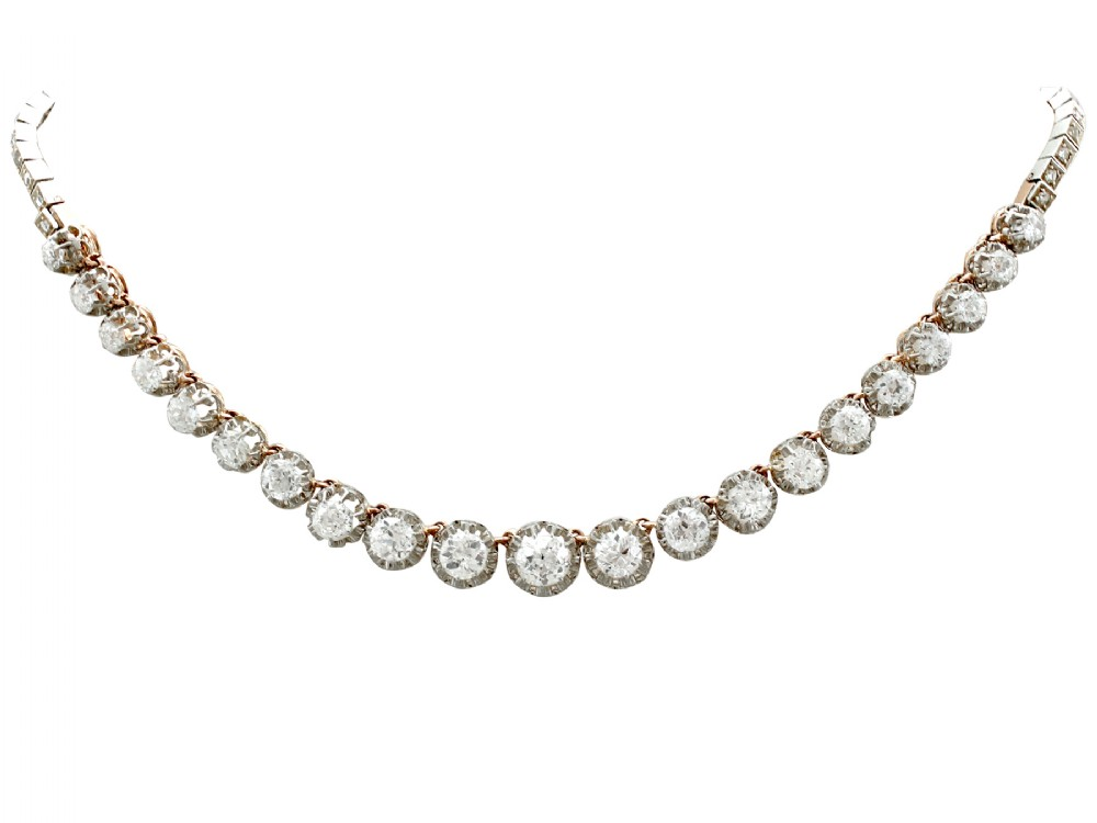 1112ct diamond and 18ct yellow gold platinum set necklace antique french circa 1880