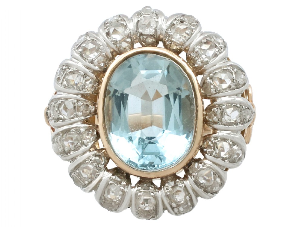 371ct aquamarine and 088ct diamond 18ct yellow gold cluster ring vintage french circa 1940