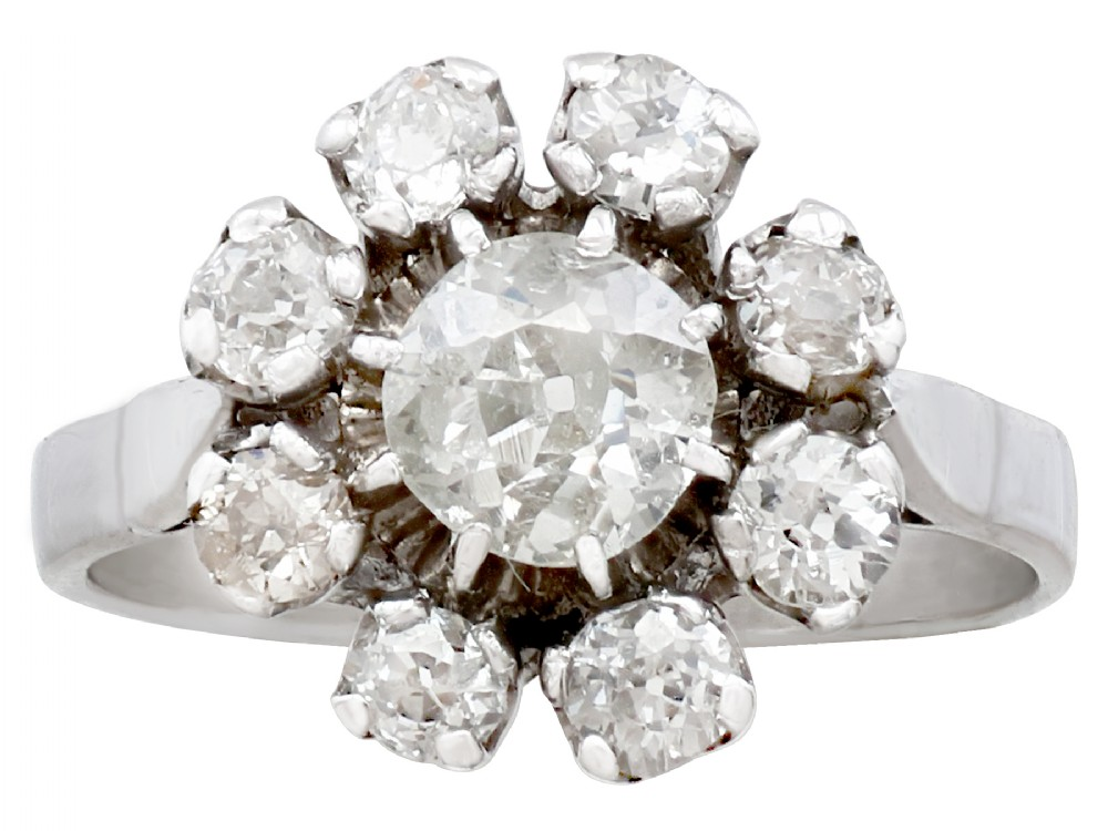 141ct diamond and 18ct white gold cluster ring antique french circa 1930