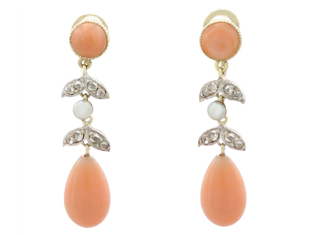 033ct diamond and pink coral seed pearl and 15ct yellow gold drop earrings antique victorian