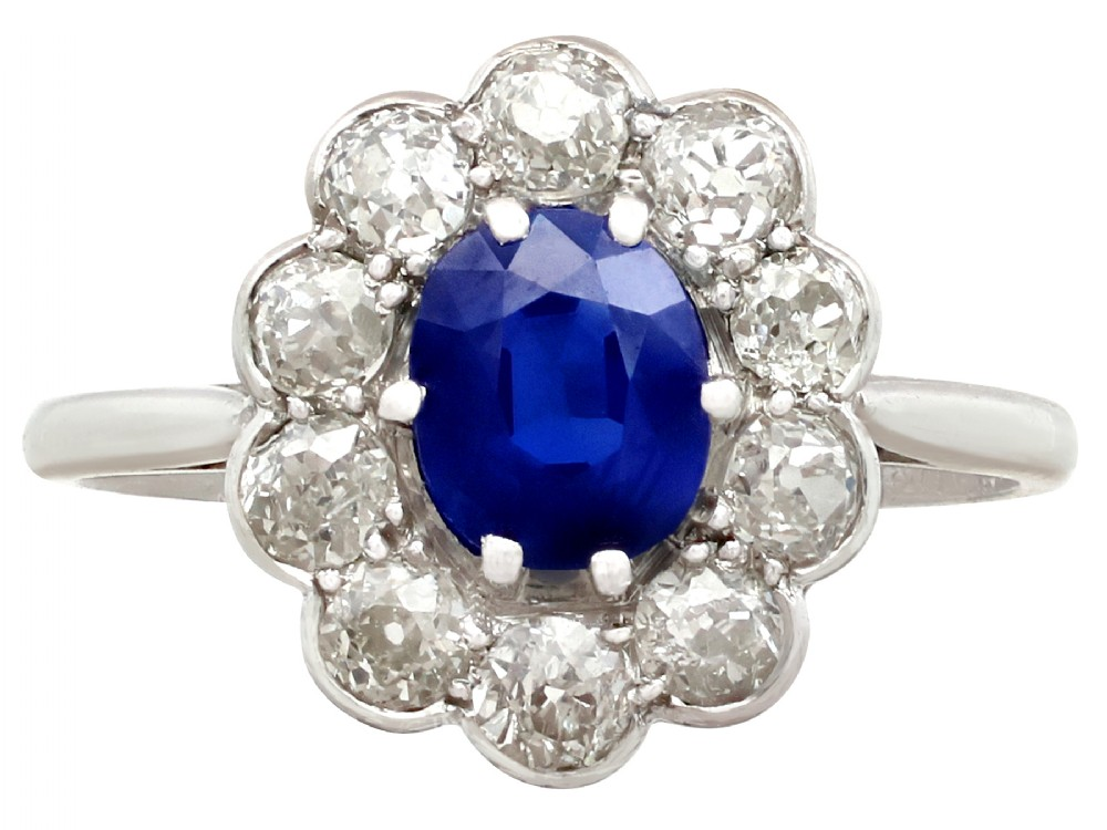 095ct sapphire and 115ct diamond platinum cluster ring antique circa 1920