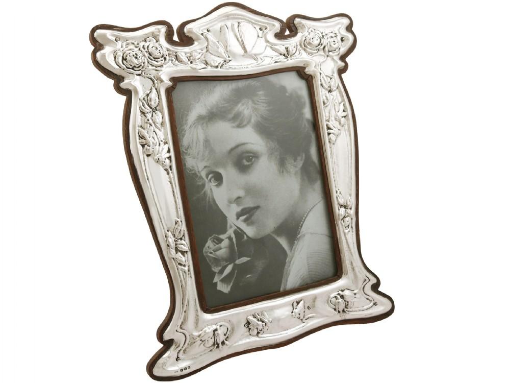 sterling silver photograph frame art nouveau antique edwardian 1907