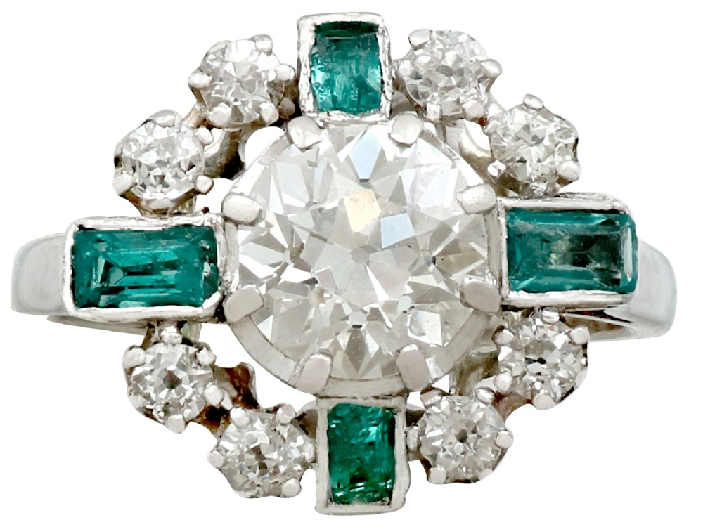 vintage french 1950s 206 carat diamond and 046ct emerald 18ct white gold dress ring