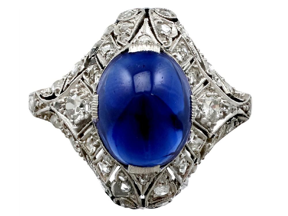 521ct sapphire and 045ct diamond platinum dress ring antique circa 1930