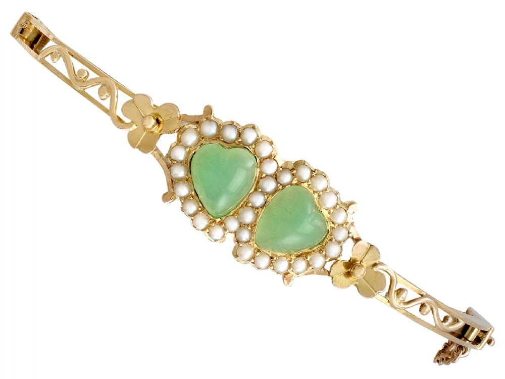 220ct chrysoprase and seed pearl 15ct yellow gold bangle antique victorian