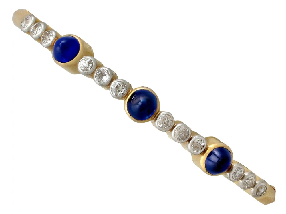448ct sapphire and 120ct diamond 18ct yellow gold bangle antique victorian
