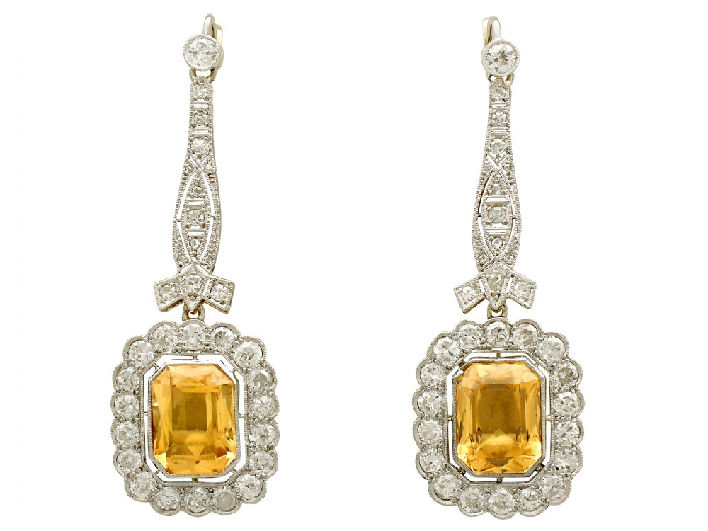 antique 1930s 952ct citrine and 455ct diamond 18ct yellow gold drop earrings
