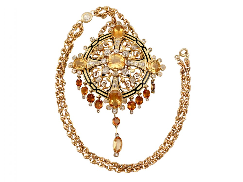1285ct citrine and 349ct diamond enamel and 18ct yellow gold pendantbrooch antique french