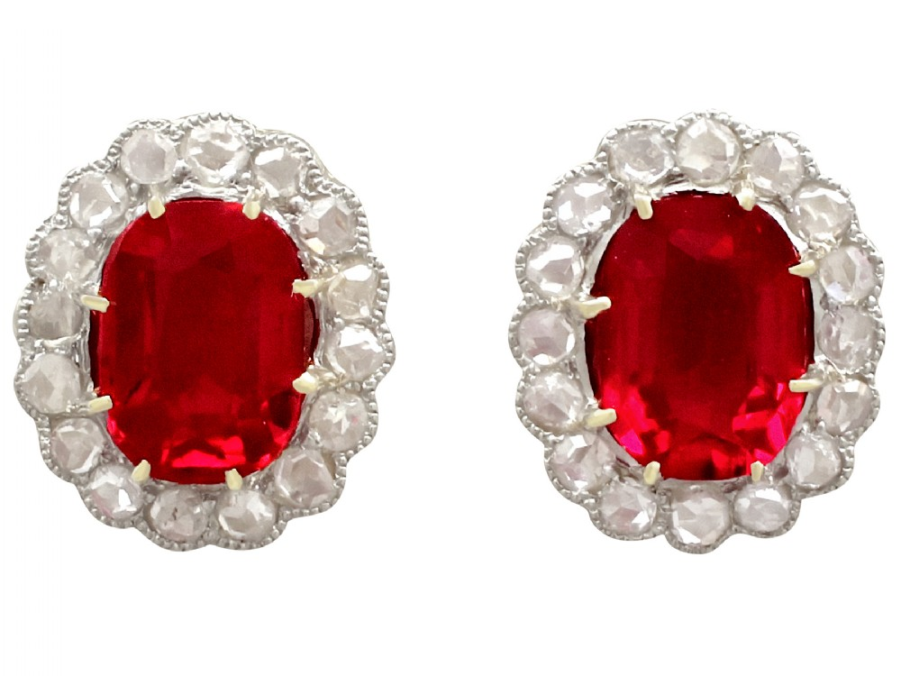 synthetic ruby and 054ct diamond 9ct yellow gold stud earrings antique circa 1900