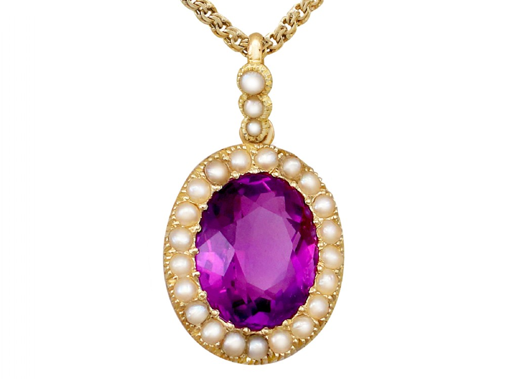 656 ct amethyst and pearl 15 ct yellow gold pendant antique circa 1890