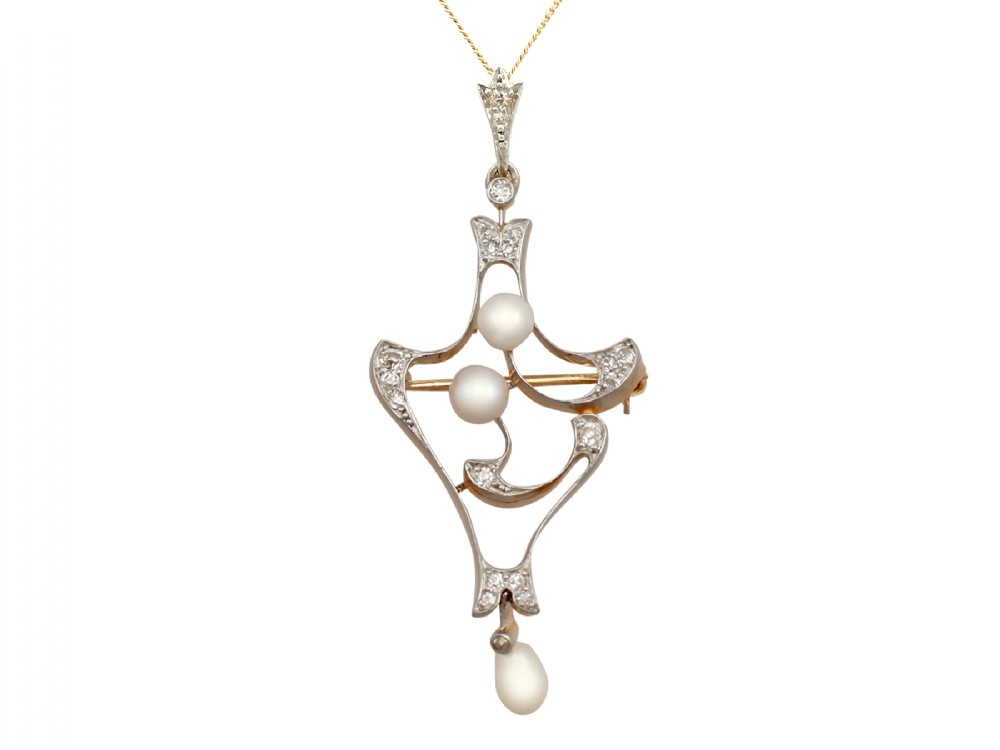 natural pearl and 033ct diamond 18ct yellow gold pendant brooch antique circa 1910