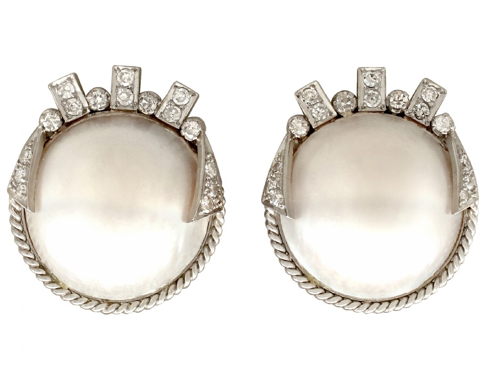 vintage art deco style mabe pearl 078ct diamond 9ct white gold earrings