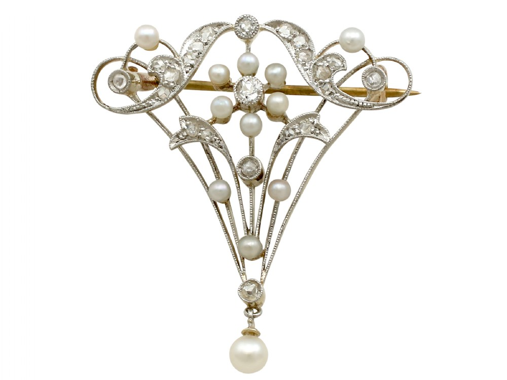 023ct diamond and pearl 15ct yellow gold brooch belle poque antique circa 1890