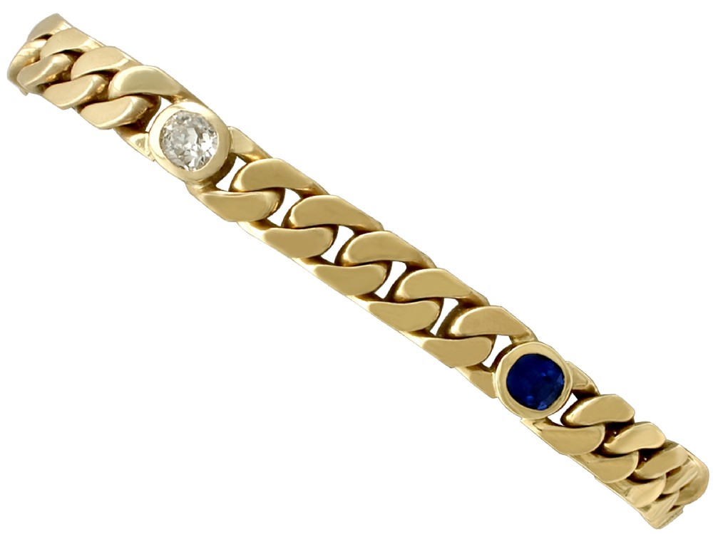 130ct sapphire and 102ct diamond 18ct yellow gold bracelet antique and vintage