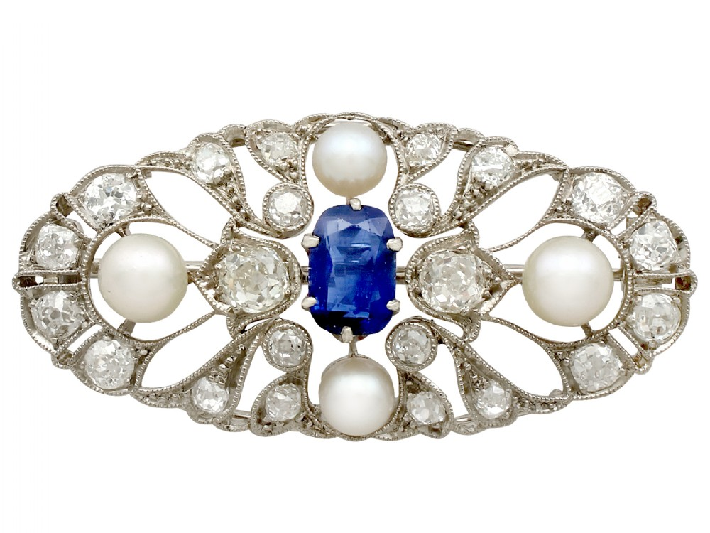 258ct sapphire and 240ct diamond pearl and 18ct white gold brooch antique circa 1910