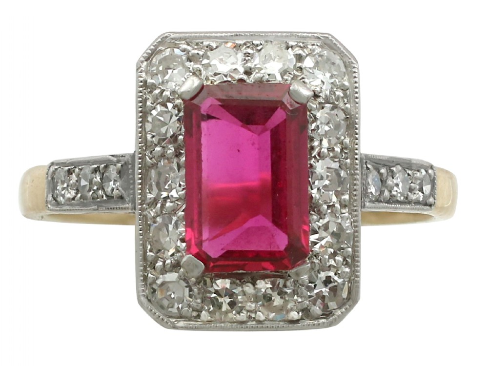 synthetic ruby and 078 ct diamond 18 ct yellow gold dress ring antique circa 1910