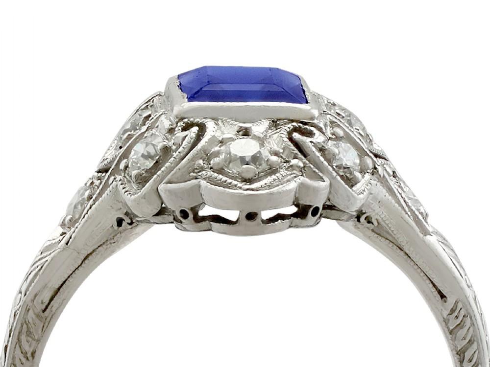 antique 1930s 079ct sapphire and 022ct diamond platinum dress ring