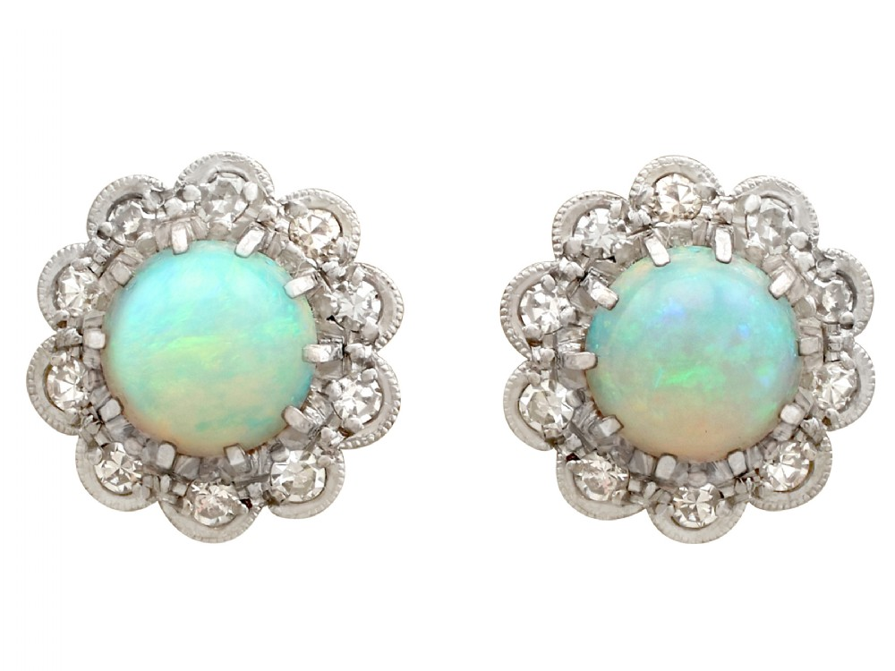165ct opal and 032ct diamond 18ct yellow gold cluster earrings antique circa 1910