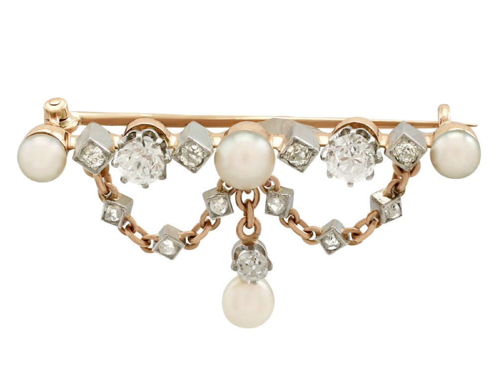 096ct diamond and pearl 18ct yellow gold brooch antique victorian