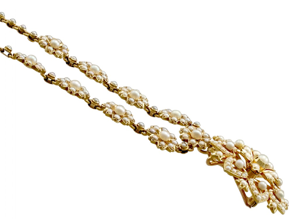 antique 1890s seed pearl and 15 ct yellow gold necklace brooch