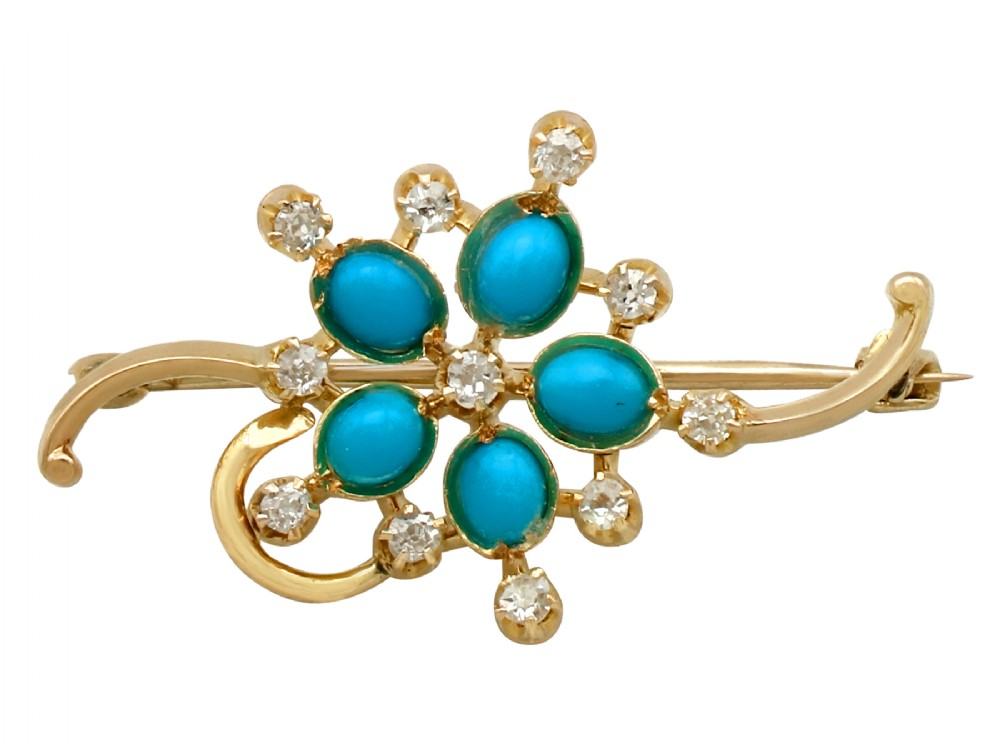 075ct turquoise and 033ct diamond 15ct yellow gold bar brooch vintage circa 1940