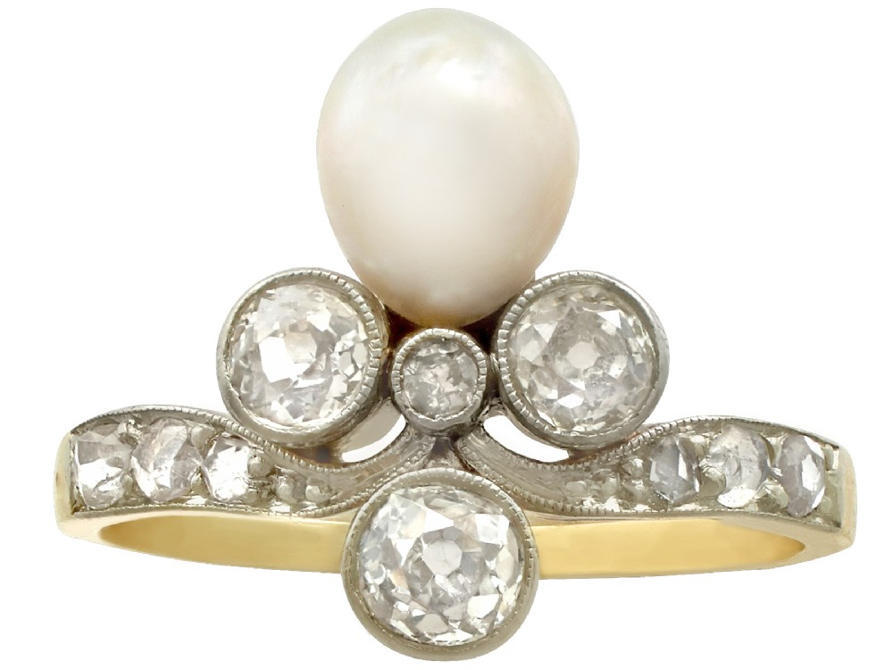 102 ct diamond and pearl 14 ct yellow gold dress ring antique circa 1910