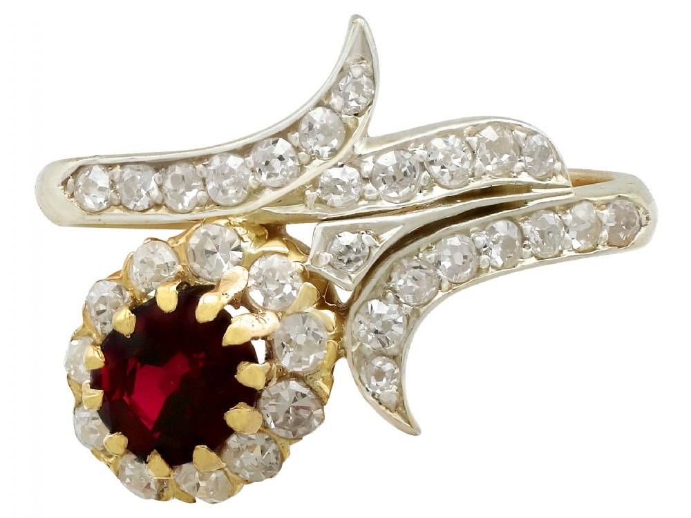 antique 095ct ruby and 083ct diamond 18ct yellow gold twist ring