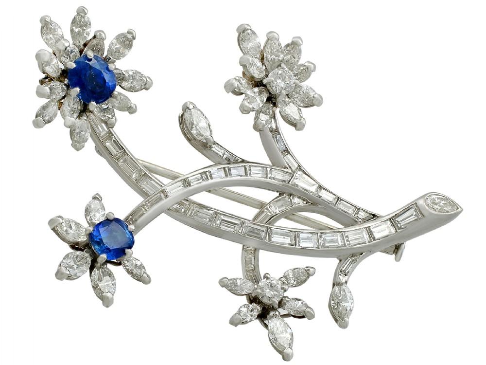 126ct sapphire and 505ct diamond platinum flower brooch vintage circa 1950