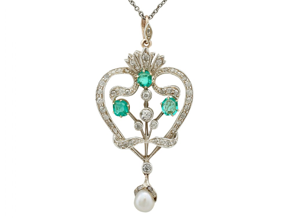 105ct emerald and 104ct diamond pearl and 9ct yellow gold pendant brooch antique victorian