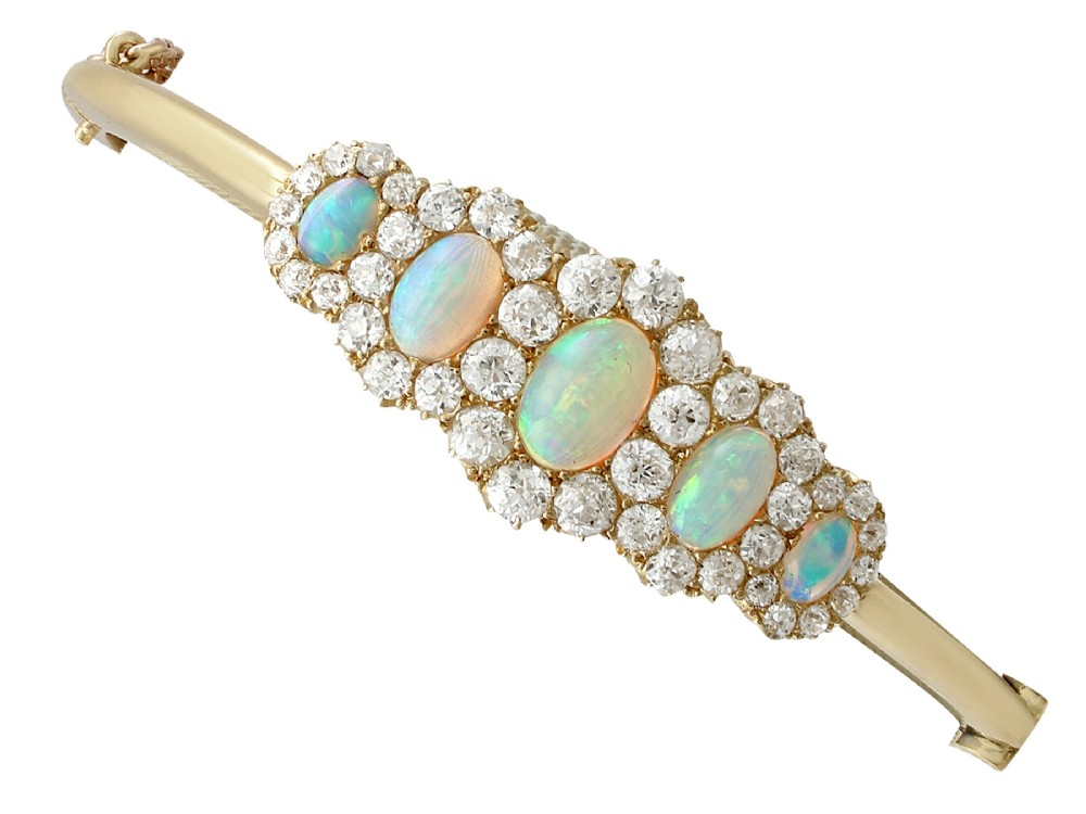 antique victorian 392ct opal and 325ct diamond 18ct yellow gold bangle