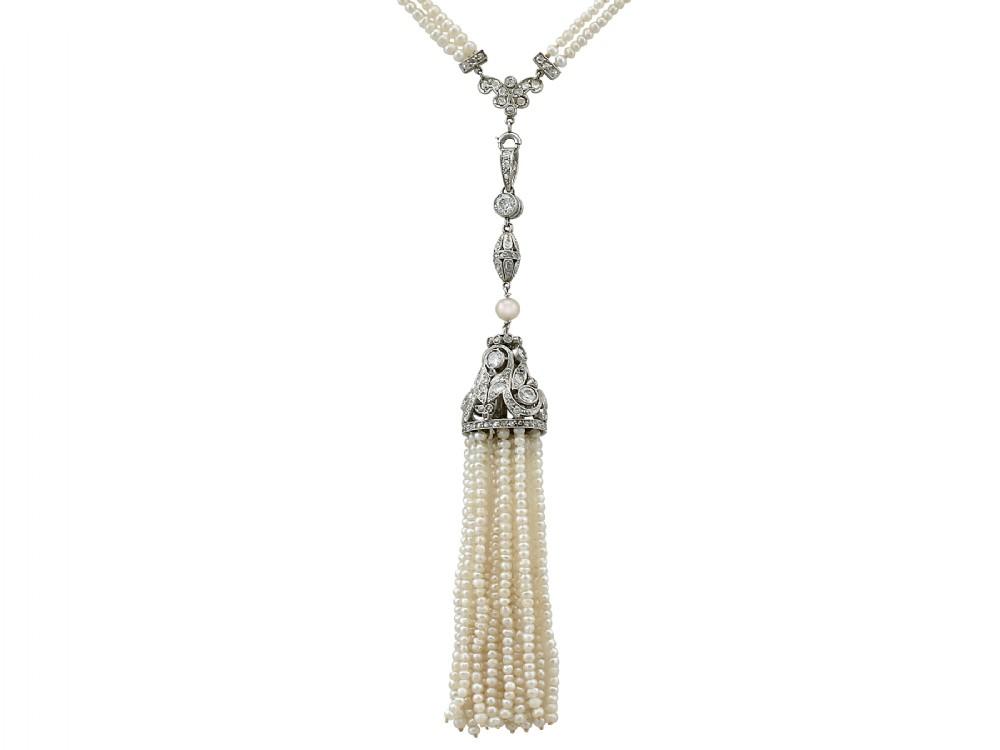 antique 441 carat diamond and seed pearl platinum sautoir necklace circa 1920