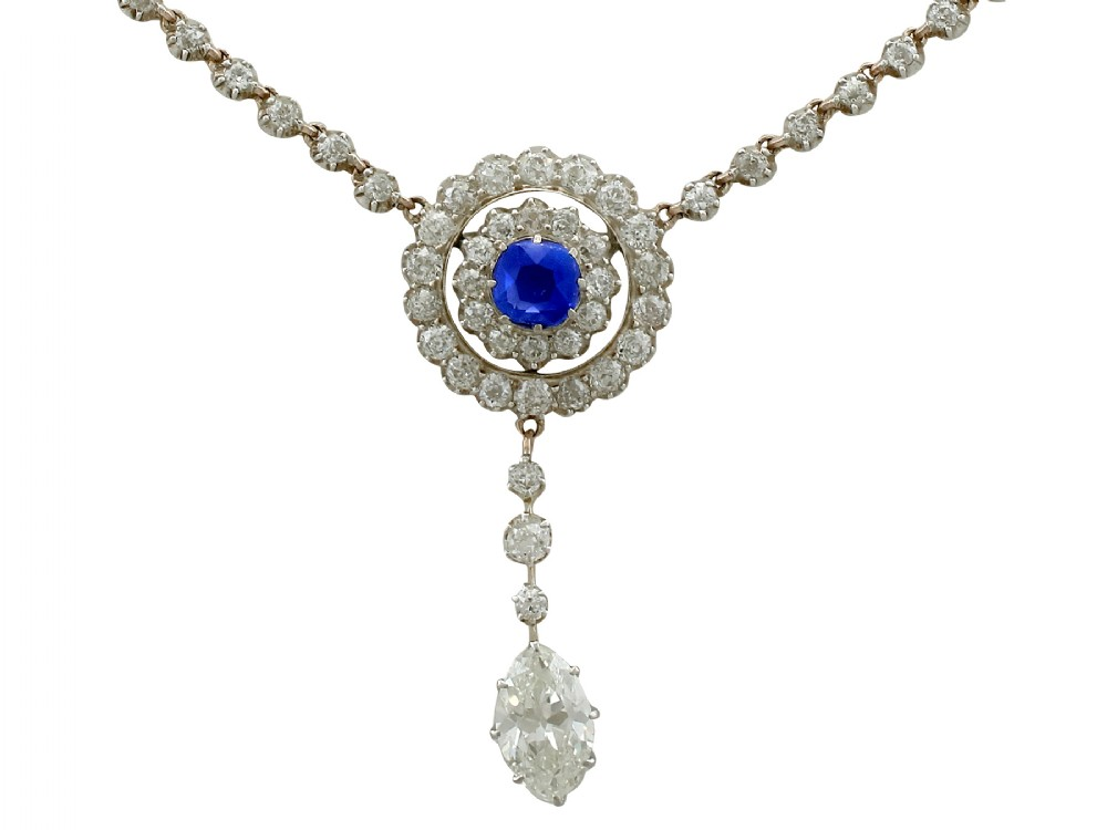 369 ct diamond and 065 ct sapphire 10 ct yellow gold and silver set necklace antique circa 1900