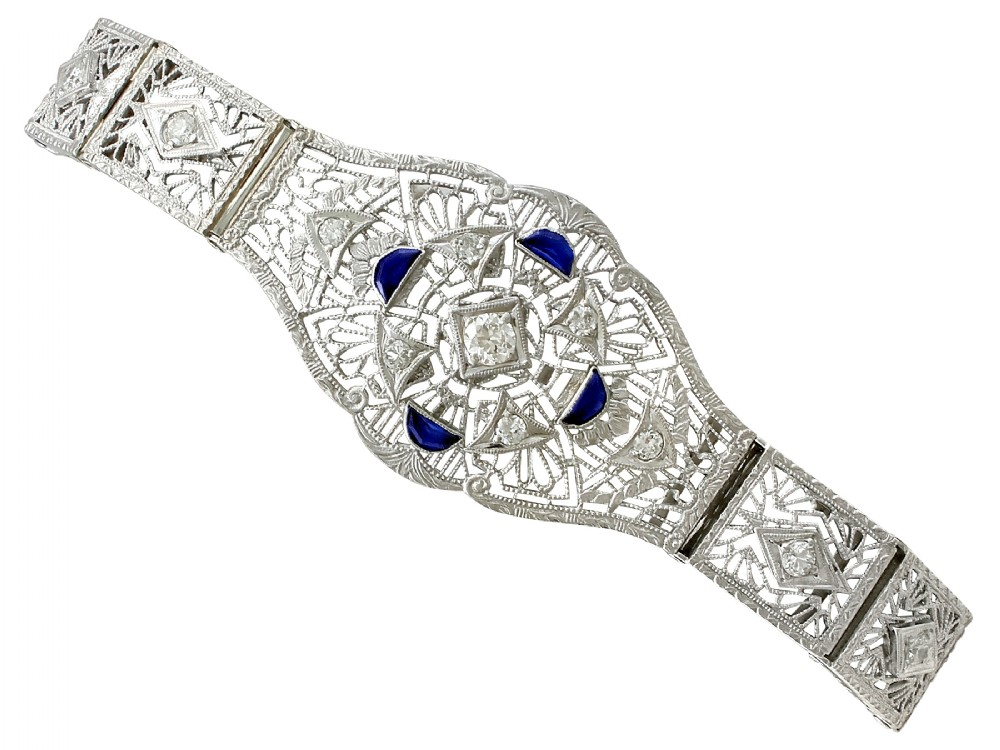 048ct sapphire and 136ct diamond 14ct white gold bracelet antique circa 1930