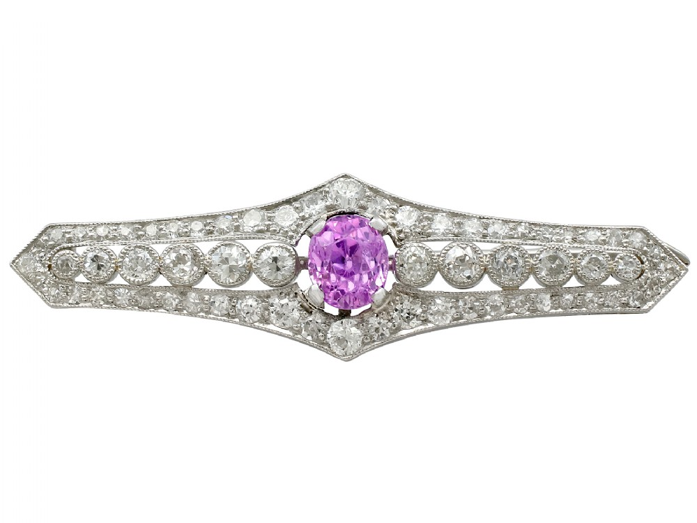 197ct pink sapphire and 232ct diamond platinum brooch antique circa 1920