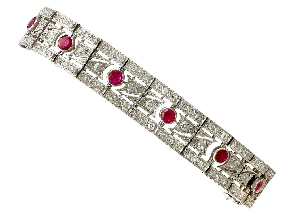 245ct ruby and 685ct diamond platinum and 18ct white gold bracelet antique french circa 1935