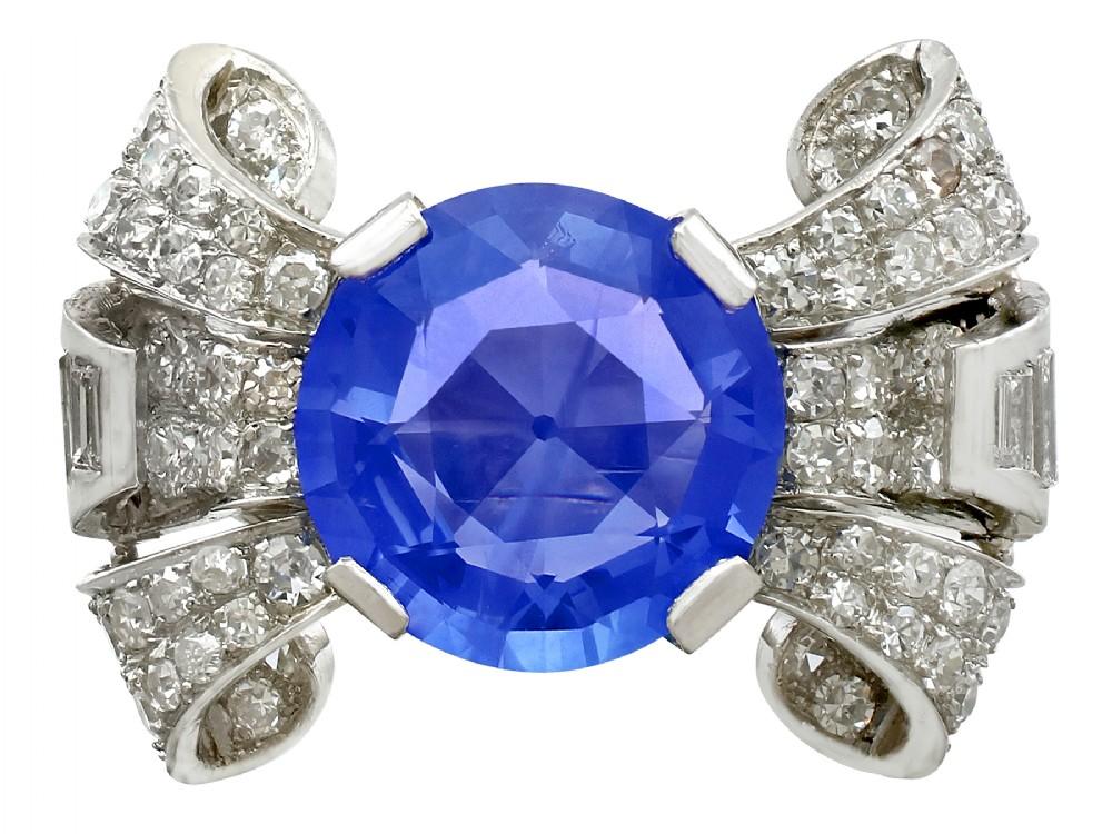 850ct ceylon sapphire and 195ct diamond platinum cocktail ring antique circa 1935
