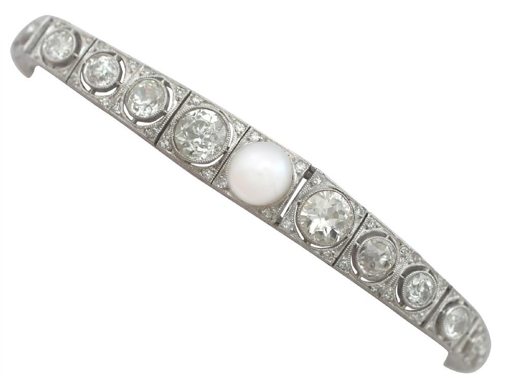 561 ct diamond and pearl 18 ct white gold bracelet antique circa 1900