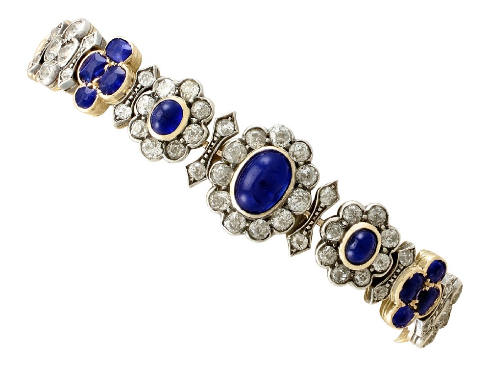 antique french 672ct sapphire and 715ct diamond 18ct yellow gold bracelet
