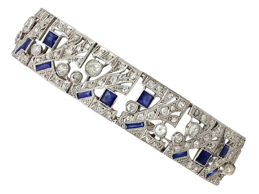 481ct sapphire and 867ct diamond 18ct white gold bracelet art deco antique circa 1930